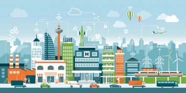 Smart city with contemporary buildings, people and traffic; networks, connection and internet of things icons on top